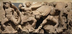 Rx the bassai sculptures marble block from the frieze of the temple of apollo epikourios at bassae greece greeks fight amazons about 420 400 bc british museum 14073518379