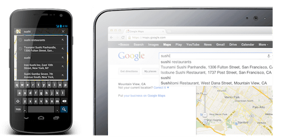 Google Maps updated with synchronized search history