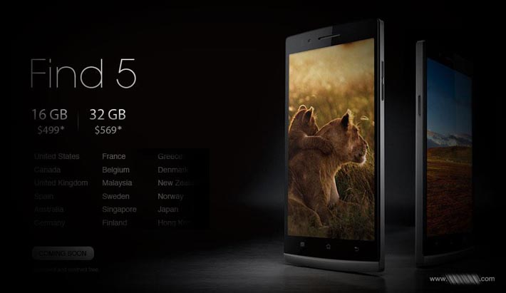 Oppo Find 5 Prices & Countries
