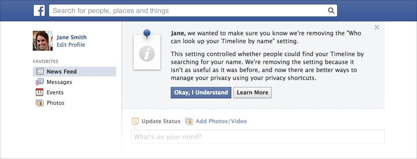 Reminder Finishing the Removal of an Old Facebook Search Setting