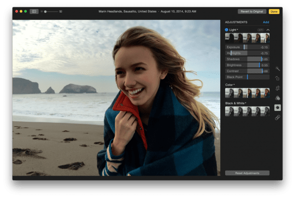 OS X Photos app editing tools