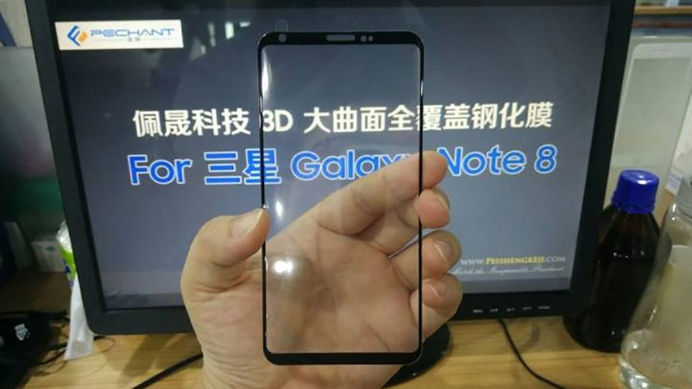 Alleged Samsung Galaxy Note 8 front panel and screen protector leak