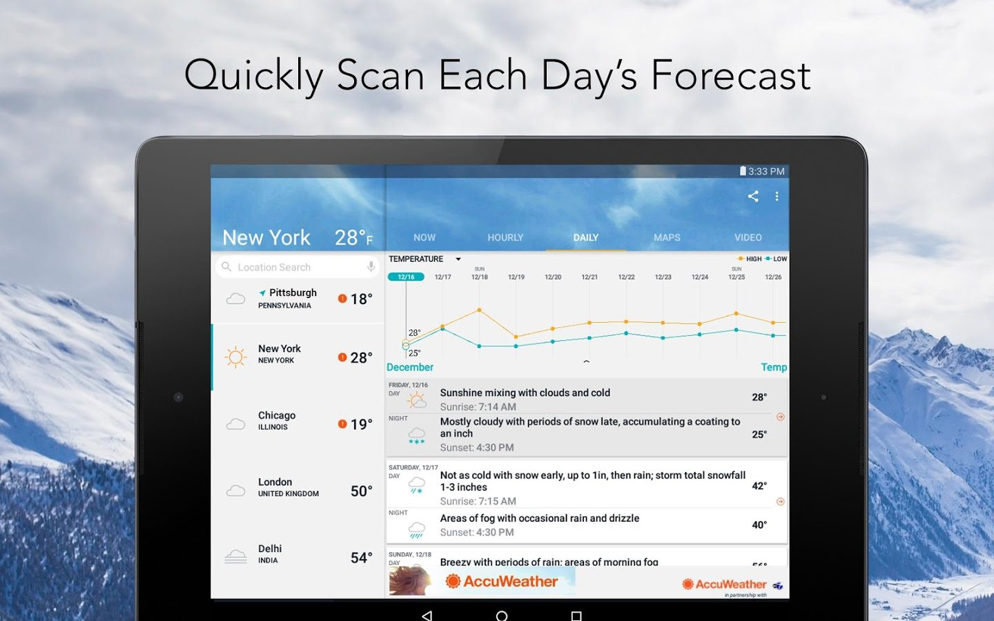 AccuWeather for Android tablet