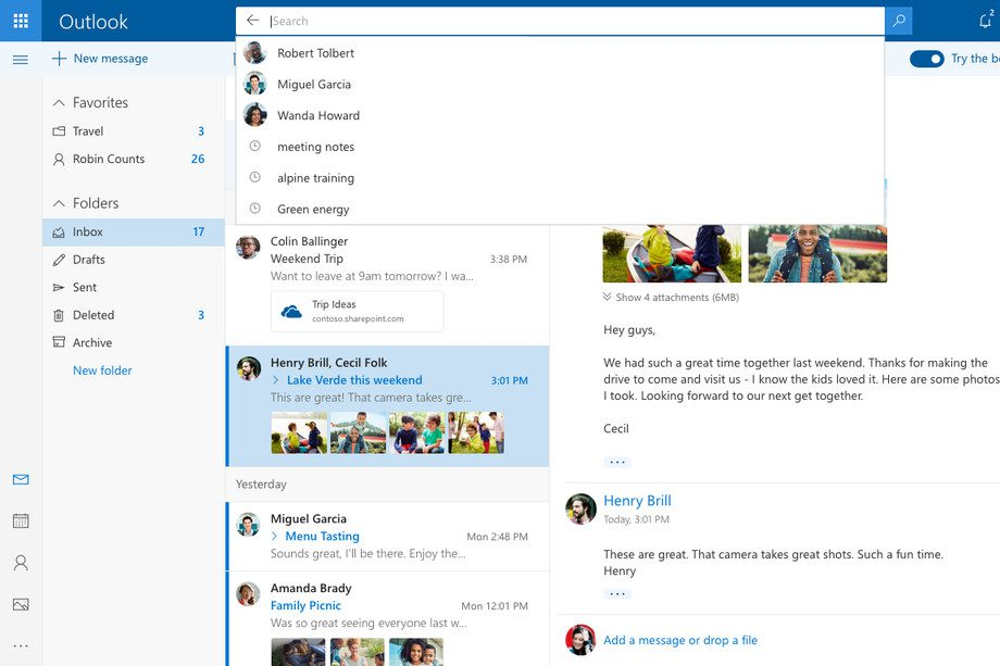 Microsoft Outlook.com 2017 New search