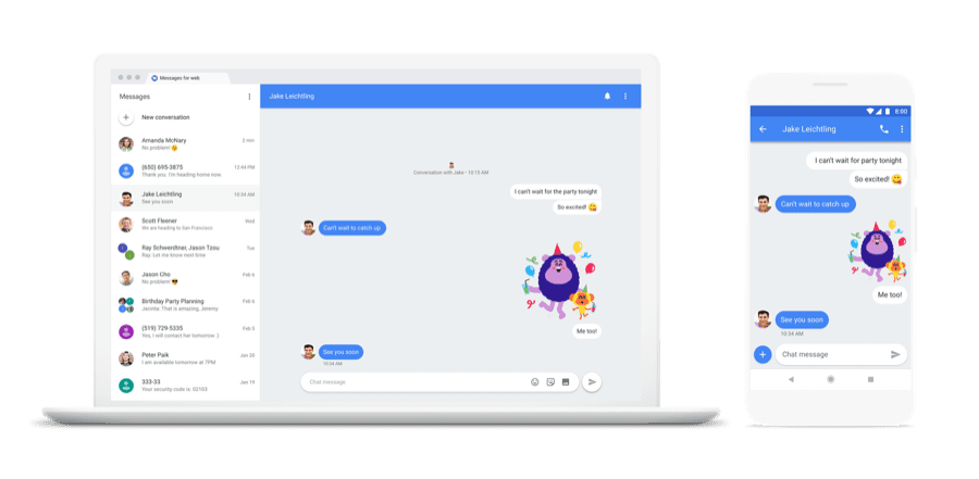 Android Messages web client preview