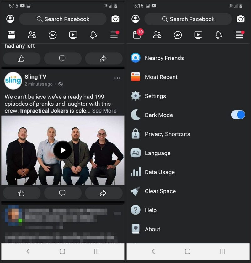 Facebook Lite dark mode